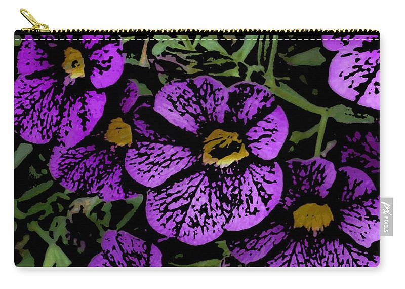 Digital Photograph Carry-all Pouch featuring the photograph Purple Floral Fantasy by David Lane
