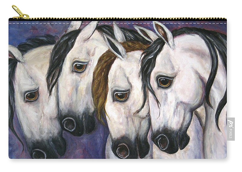Horse Painting Carry-all Pouch featuring the painting Purple Haze by Frances Gillotti