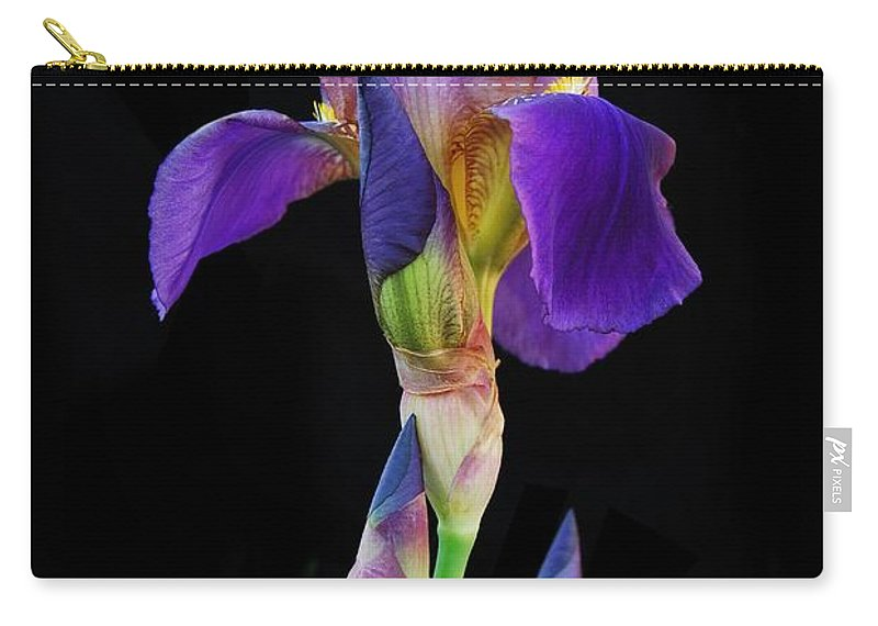 Flower Carry-all Pouch featuring the photograph Purple Iris by Michael Peychich