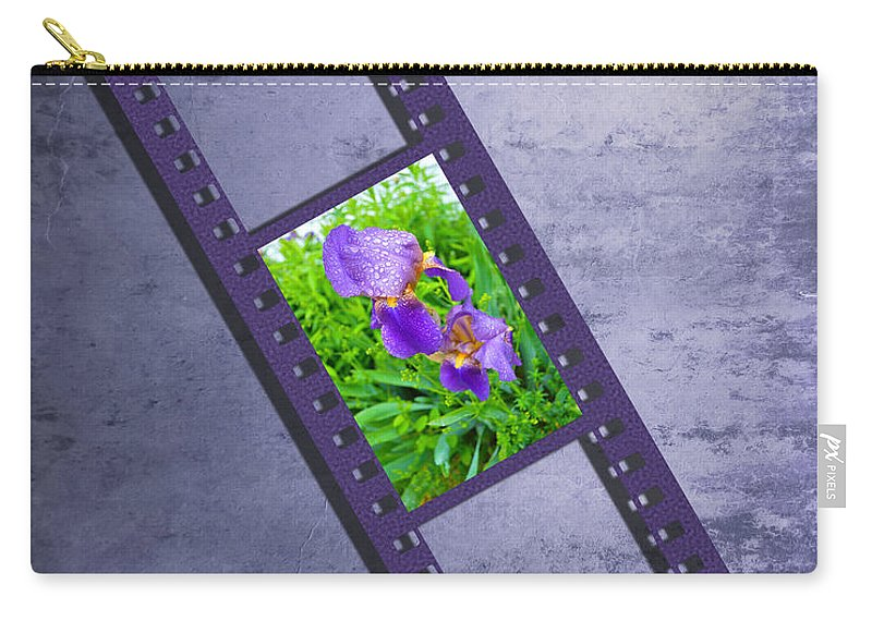 Iris Carry-all Pouch featuring the photograph Purple Iris Passion by Andrea Swiedler