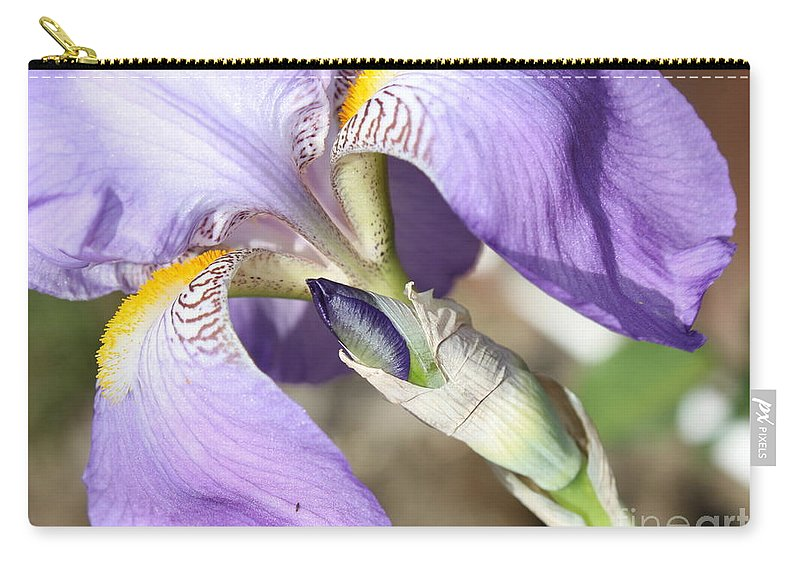 Iris Carry-all Pouch featuring the photograph Purple Iris With Focus On Bud by Carol Groenen