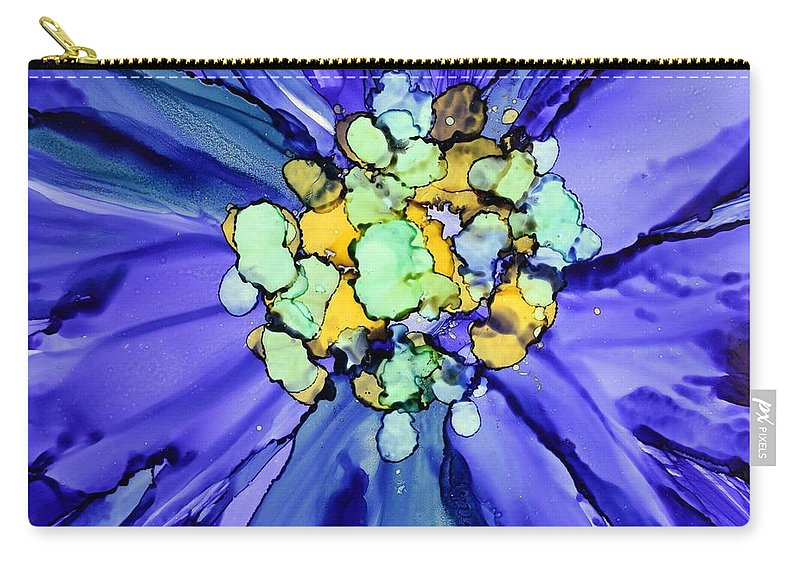 Floral Carry-all Pouch featuring the painting Purple Macro Floral by Beth Kluth