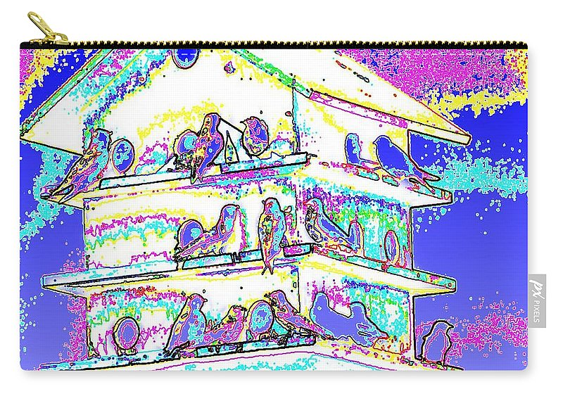 Purple Martin Carry-all Pouch featuring the photograph Purple Martin Bird House by Tim Allen