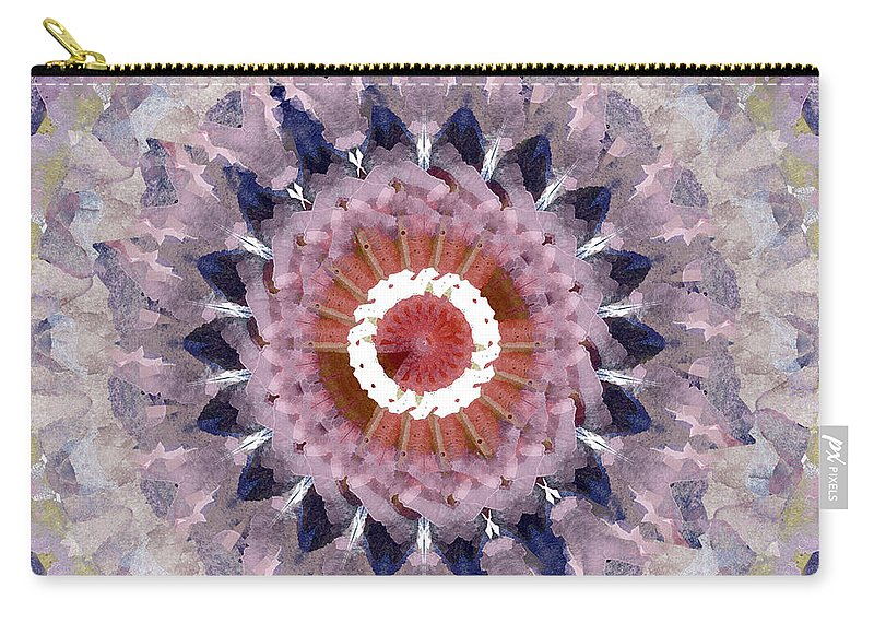 Purple Carry-all Pouch featuring the painting Purple Mosaic Mandala - Abstract Art by Linda Woods by Linda Woods