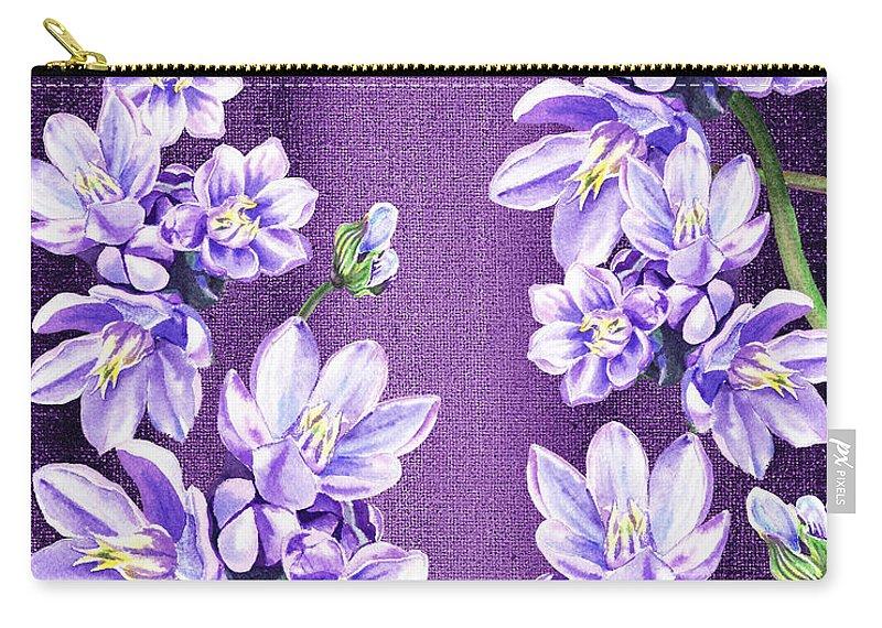 Purple On Purple Flower Garden Carry-all Pouch featuring the painting Purple On Purple Flower Garden by Irina Sztukowski