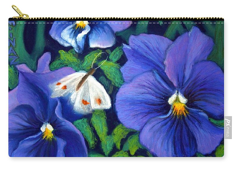Pansy Carry-all Pouch featuring the painting Purple Pansies and White Moth by Minaz Jantz