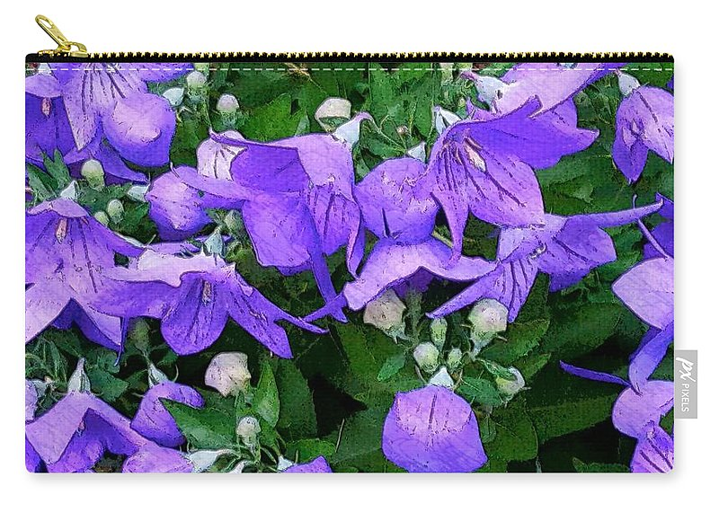 Numerous Small Blue~purple Flowers With Buds And Greenery Carry-all Pouch featuring the photograph Balloon Flowers by Harriet Harding