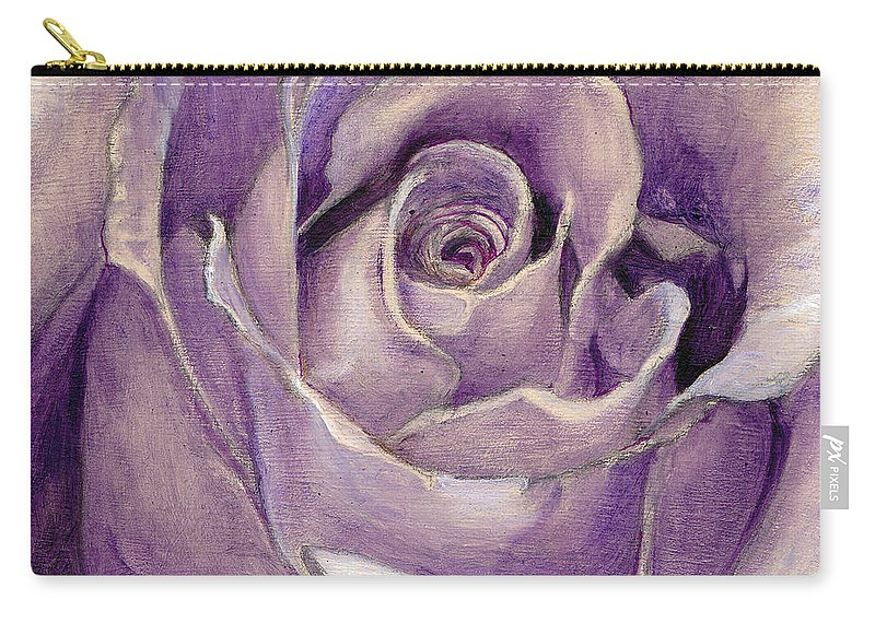 Rose Carry-all Pouch featuring the painting Purple Rose by Portraits By NC