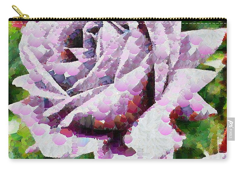 Purple Rose Painting Carry-all Pouch featuring the painting Purple Rose Painting by Catherine Lott