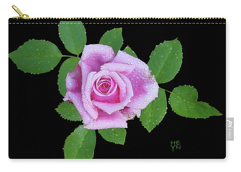 Cutout Carry-all Pouch featuring the photograph Purple Rosebud2 Cutout by Shirley Heyn