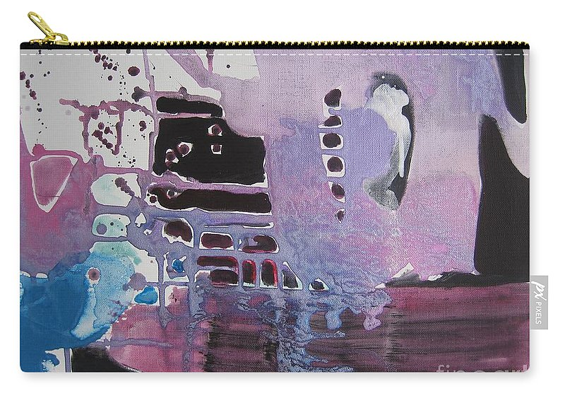 Abstract Paintings Carry-all Pouch featuring the painting Purple Seascape by Seon-Jeong Kim