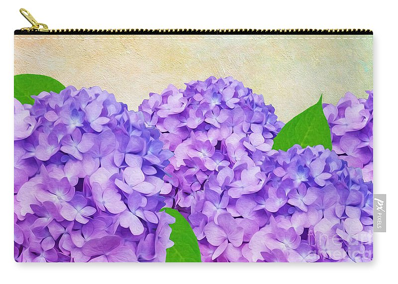 Hydrangeas Carry-all Pouch featuring the photograph Purple Spring Hydrangeas by Laura D Young