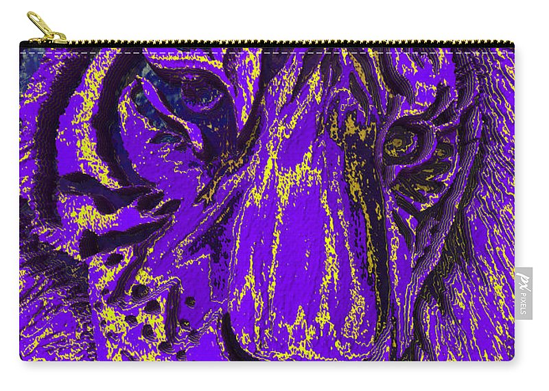 Tiger Carry-all Pouch featuring the mixed media Purple Tiger by Apollo Environmental Artist