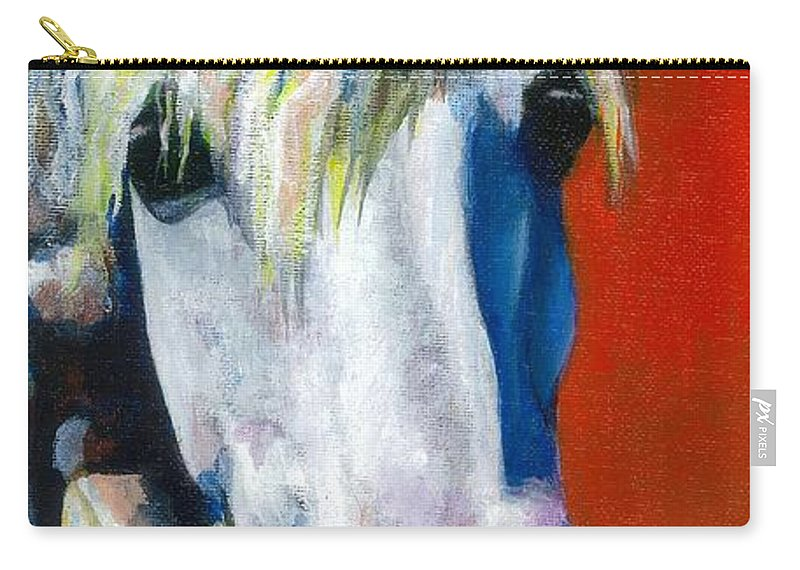 White Horse With Purple Nose Carry-all Pouch featuring the painting Purple Velvet by Frances Marino