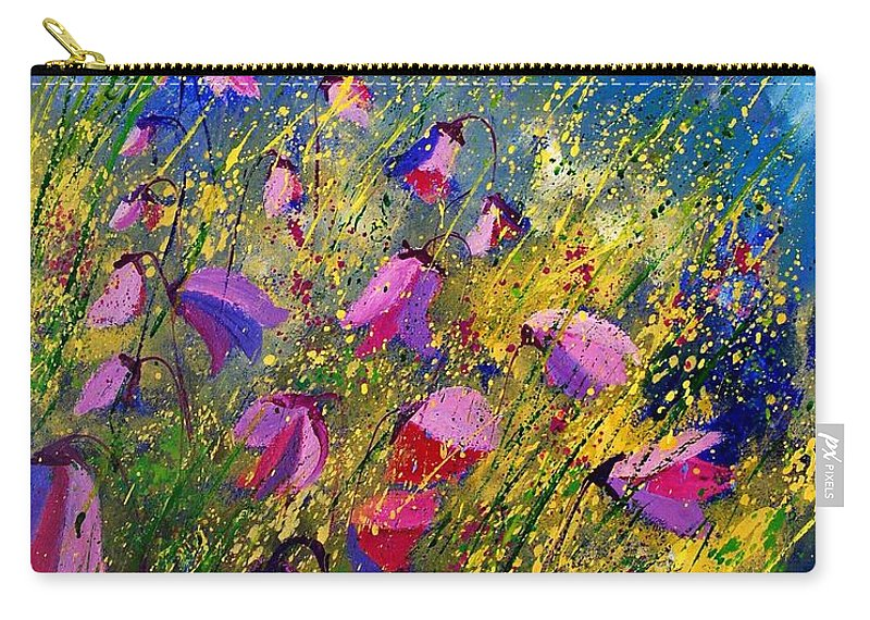 Poppies Carry-all Pouch featuring the painting Purple Wild Flowers by Pol Ledent