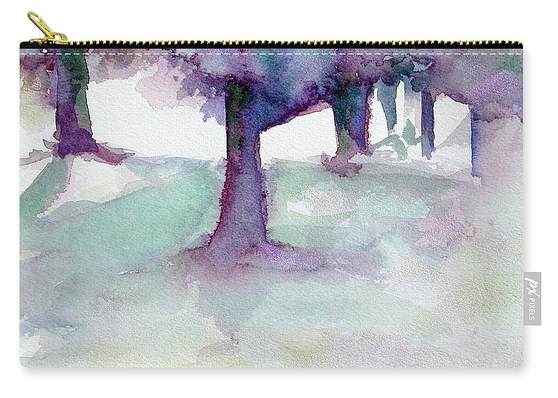 Landscape Carry-all Pouch featuring the painting Purplescape II by Jan Bennicoff