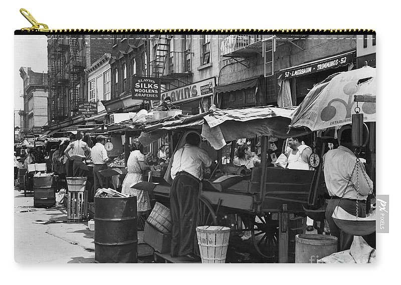 1939 Carry-all Pouch featuring the photograph Pushcart Market, 1939 by Granger