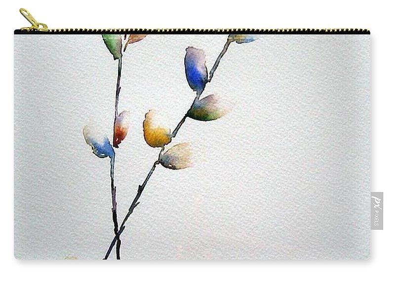 Pussy Willow Branches Carry-all Pouch featuring the painting Pussy Willows by Joanne Smoley
