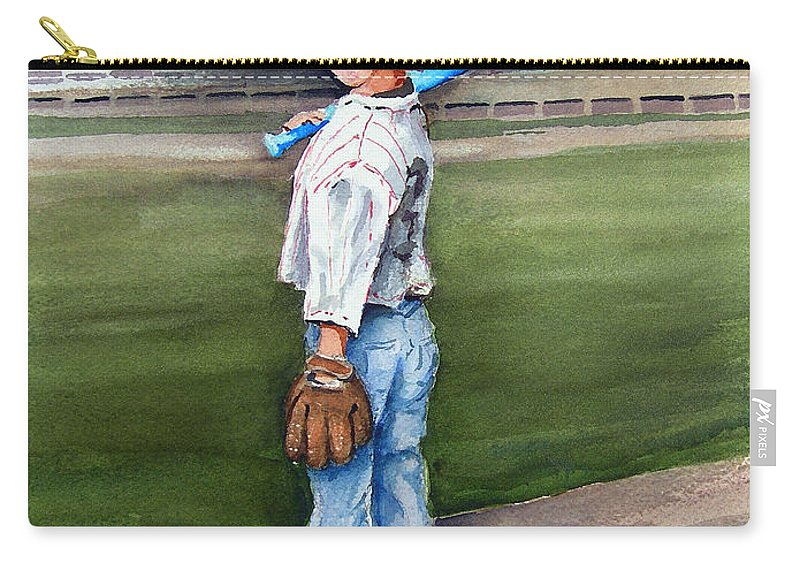 Baseball Carry-all Pouch featuring the painting Put Me In Coach by Sam Sidders