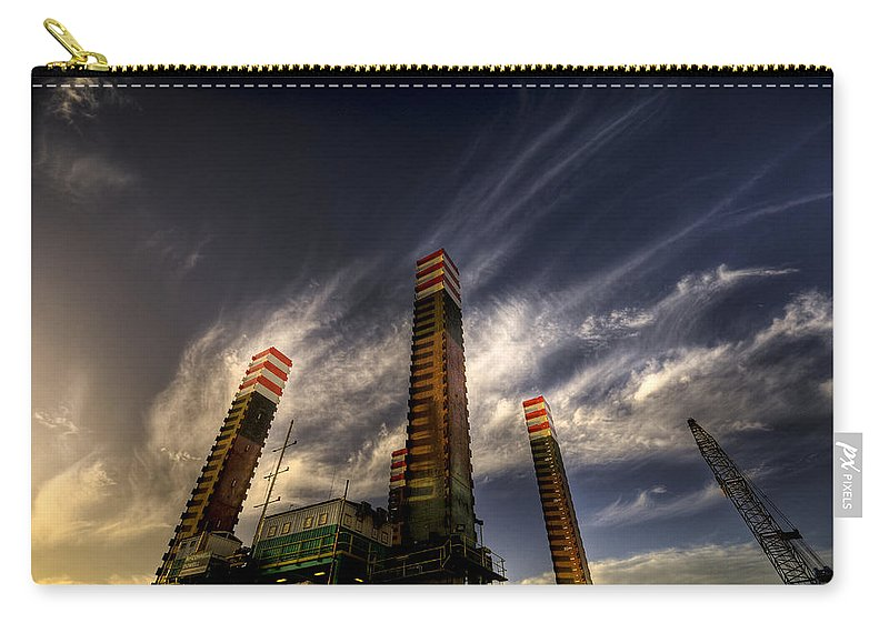 Pylons Carry-all Pouch featuring the photograph Pylons by Wayne Sherriff