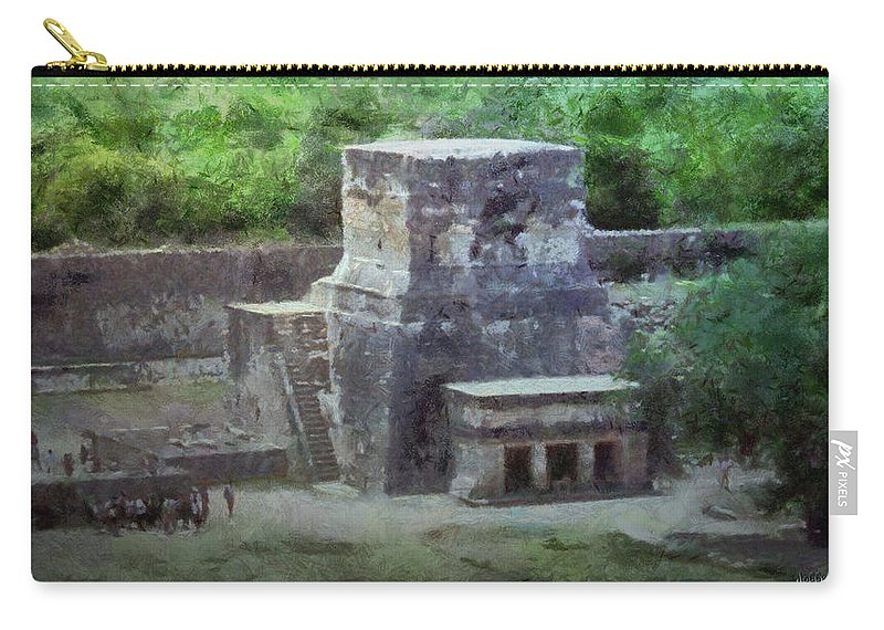 Yucatan Carry-all Pouch featuring the painting Pyramid View by Jeffrey Kolker