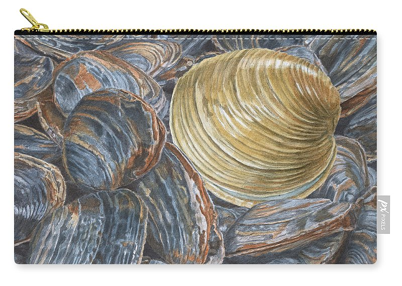Quahog Carry-all Pouch featuring the painting Quahog On Clams by Dominic White