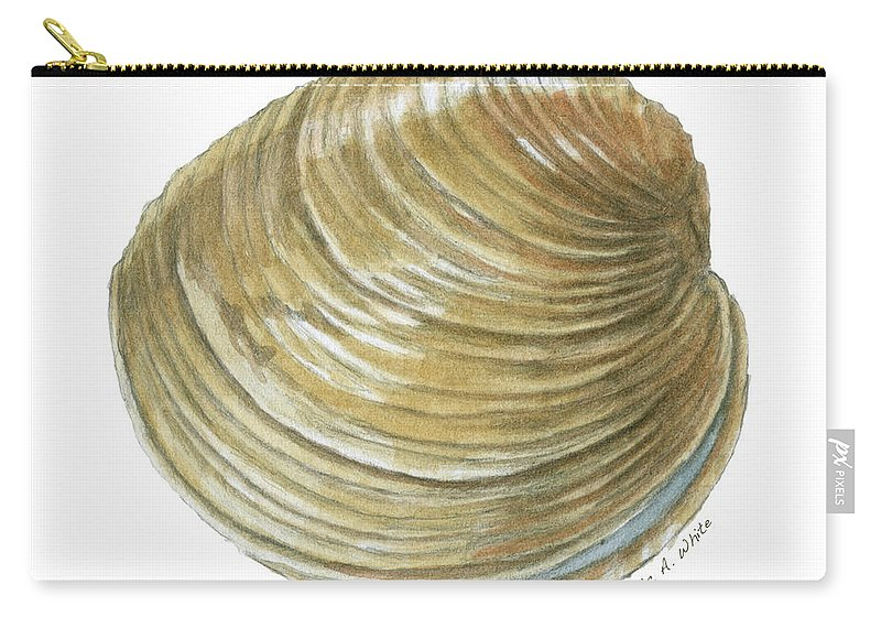 Quahog Carry-all Pouch featuring the painting Quahog Shell by Dominic White