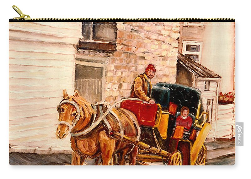 Quebec City Carriage Ride Carry-all Pouch featuring the painting Quebec City Carriage Ride by Carole Spandau