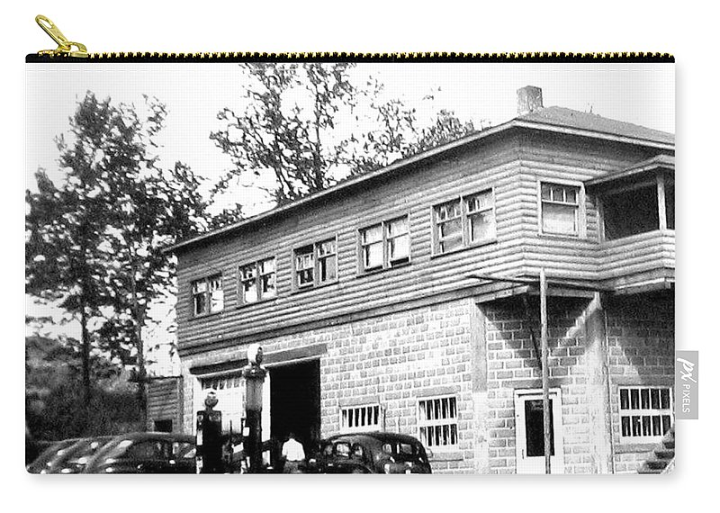 B&w Vintage Photo Carry-all Pouch featuring the photograph Quebec Garage 1940s by Will Borden