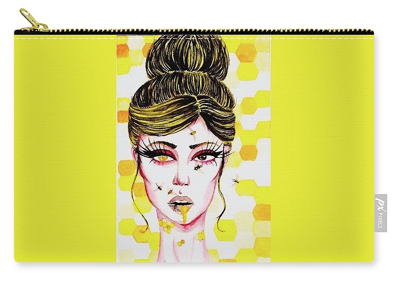 Bee Yellow Girl Honeycomb Carry-all Pouch featuring the painting Queen Bee by Alyssa Torres