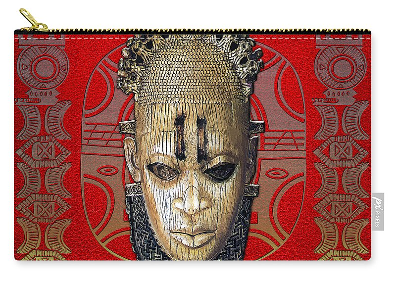 Ethnic Arts Africa By Serge Averbukh Carry-all Pouch featuring the photograph Queen Mother Idia by Serge Averbukh