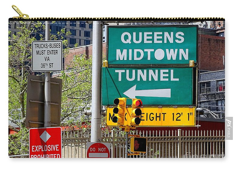 Queens Midtown Tunnel Carry-all Pouch featuring the photograph Queens Midtown Tunnel by Ed Weidman