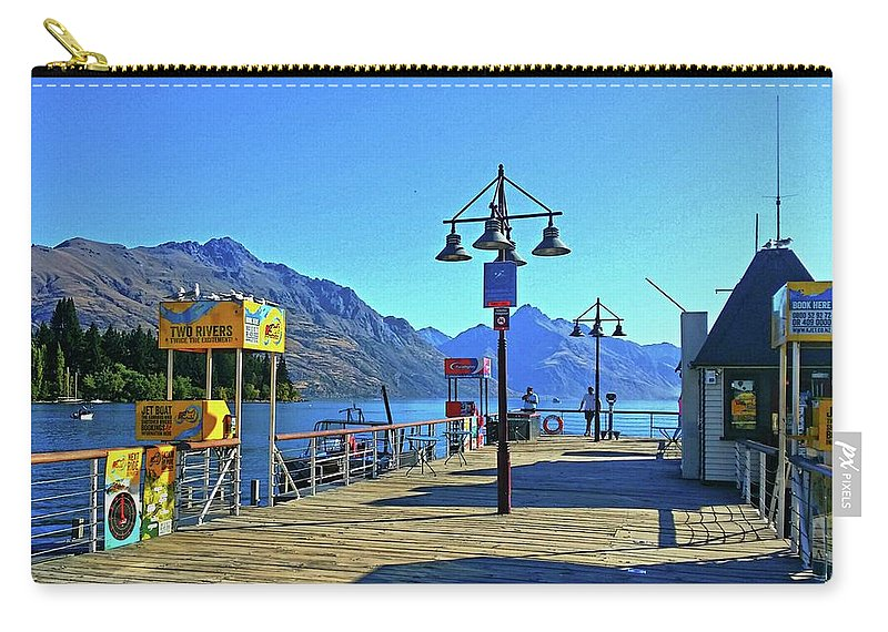 Queenstown Carry-all Pouch featuring the digital art Queenstown's Majestic Mountains by Kathy Kelly
