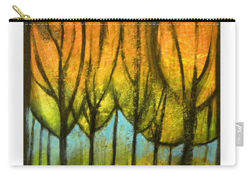 Trees Carry-all Pouch featuring the painting Quiet Blaze by Tim Nyberg