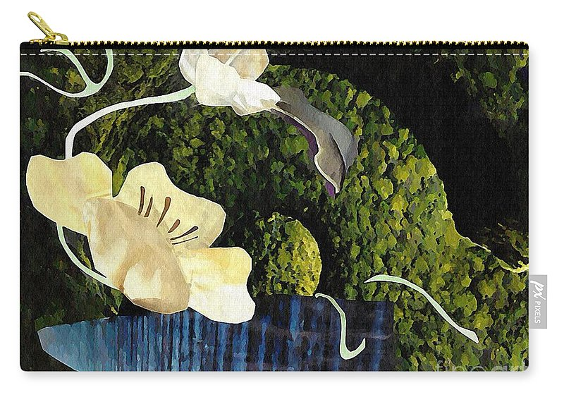 Floral Carry-all Pouch featuring the mixed media Quiet Garden by Sarah Loft