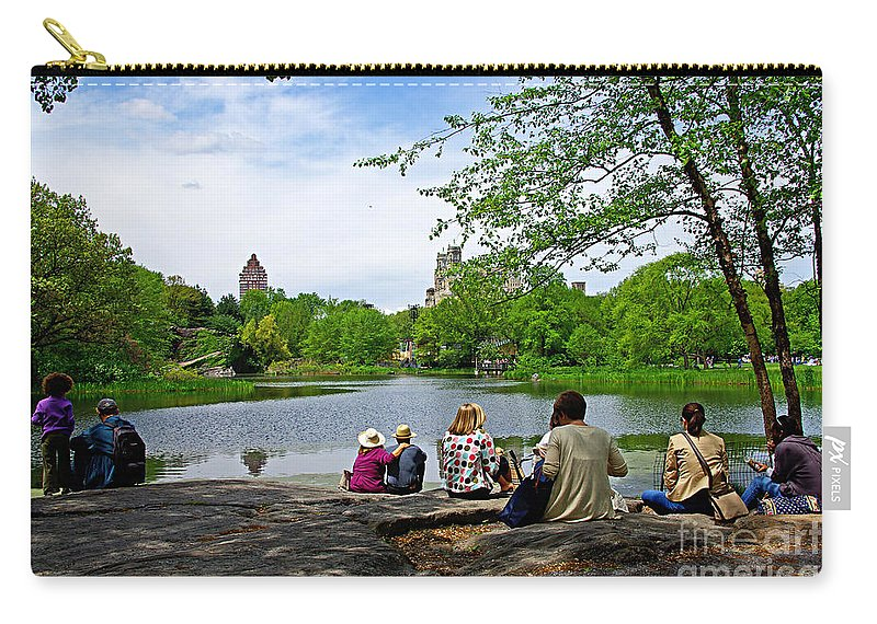 Central Park Carry-all Pouch featuring the photograph Quiet Moment In Central Park by Zal Latzkovich