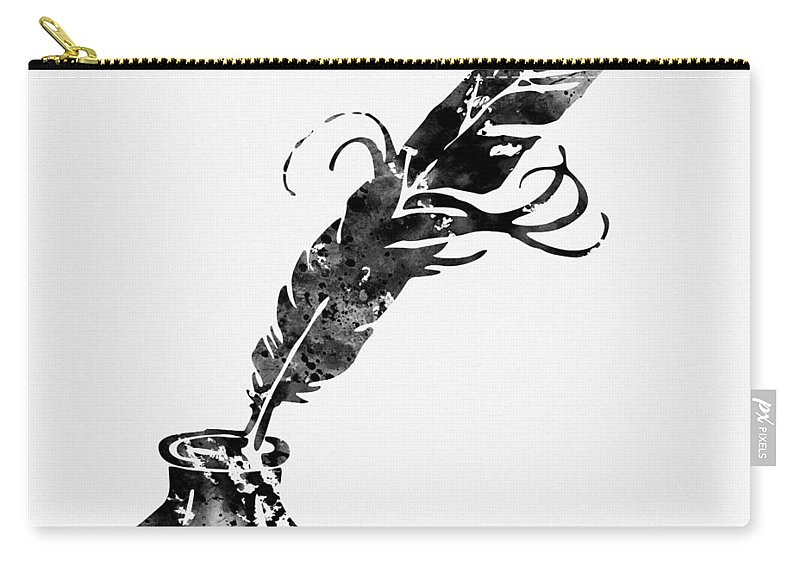 Quill And Ink Carry-all Pouch featuring the digital art Quill And Ink-black by Erzebet S
