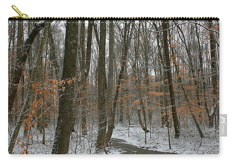 Forest Woods Water Winter Tree Snow Cold Season Nature Carry-all Pouch featuring the photograph Quite Path by Andrei Shliakhau