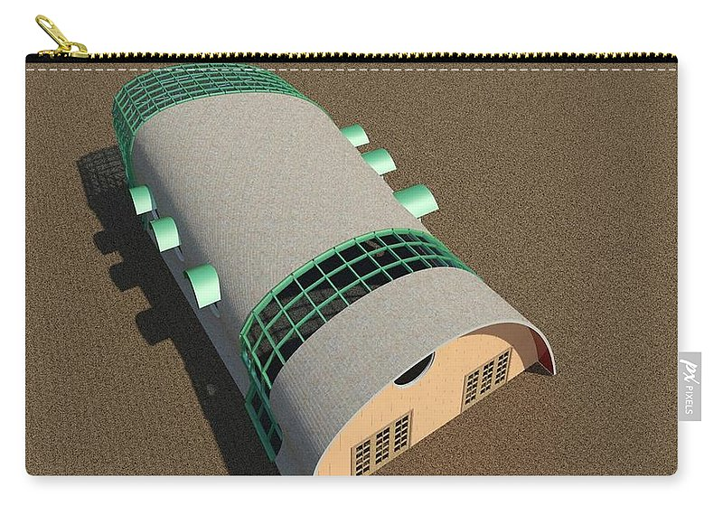 Building Carry-all Pouch featuring the digital art Quonset Twenty Ten by Ron Bissett