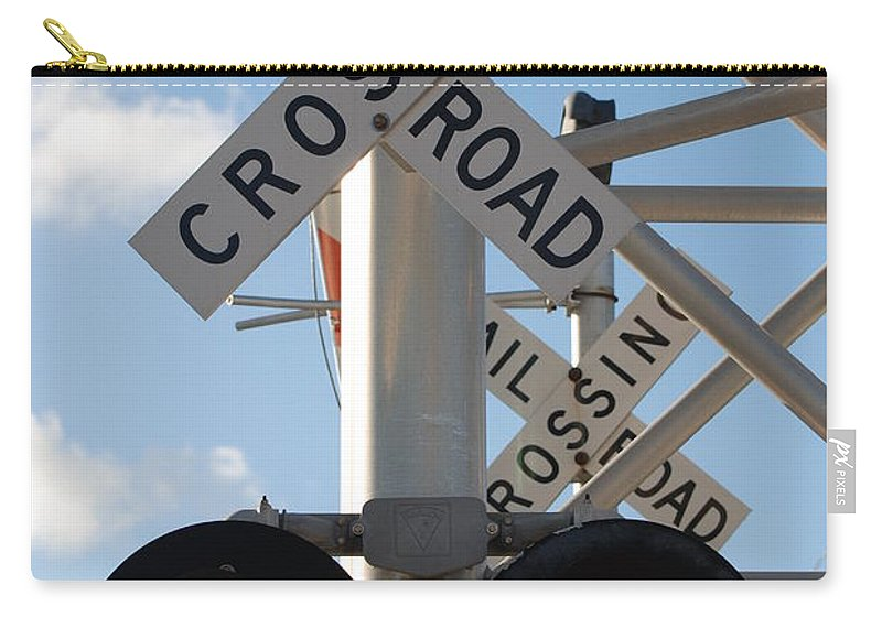 Train Carry-all Pouch featuring the photograph R X R Crossing by Rob Hans