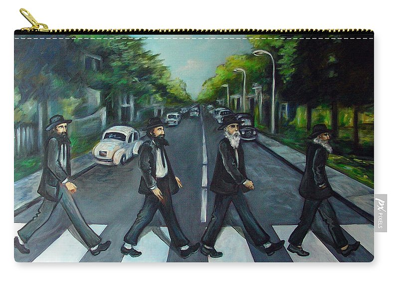 Surreal Carry-all Pouch featuring the painting Rabbi Road by Valerie Vescovi