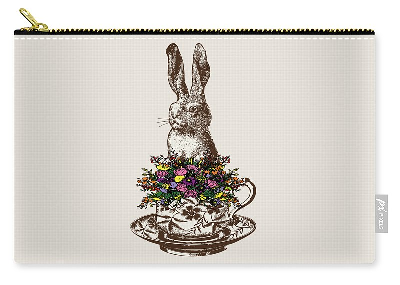Rabbits Carry-all Pouch featuring the digital art Rabbit In A Teacup by Eclectic at HeART