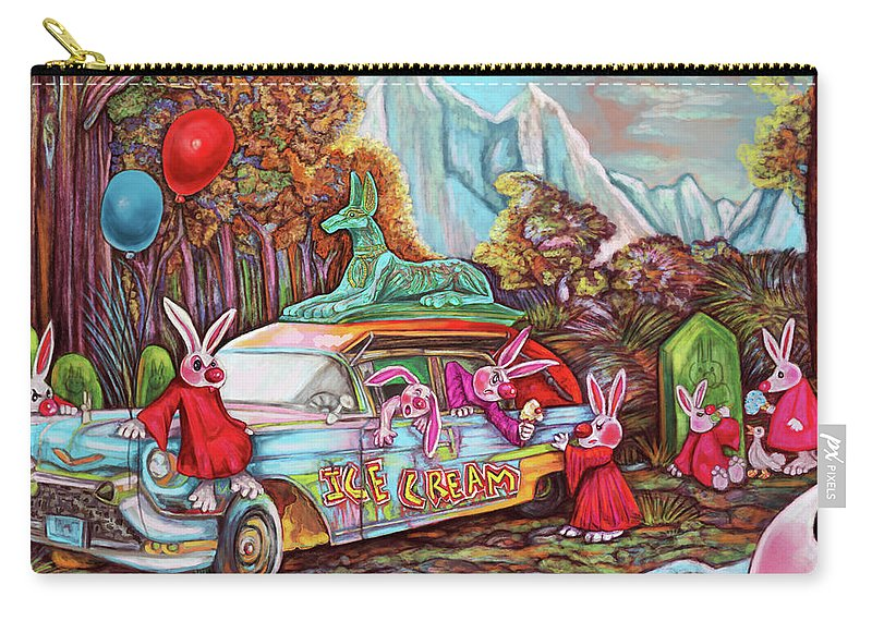 Bunny Carry-all Pouch featuring the digital art Rabbits Selling Ice Cream From A Hearse by Clown Coffins