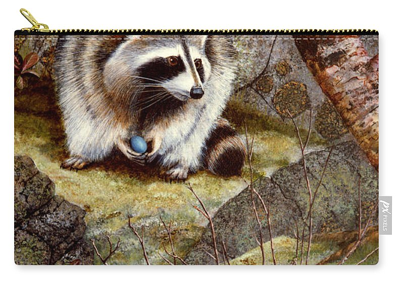 Raccoon Found Treasure Carry-all Pouch featuring the painting Raccoon Found Treasure by Frank Wilson