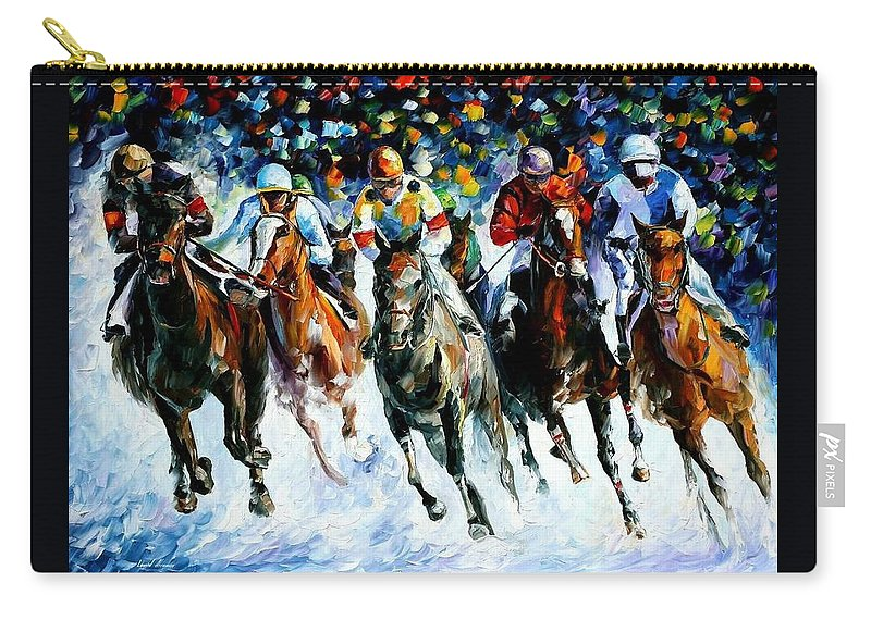 Race Carry-all Pouch featuring the painting Race On The Snow by Leonid Afremov