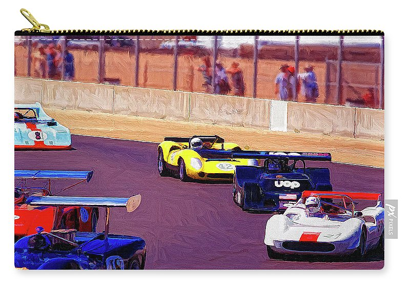 Racing At Laguna Seca Carry-all Pouch featuring the painting Racing At Laguna Seca by Dominic Piperata