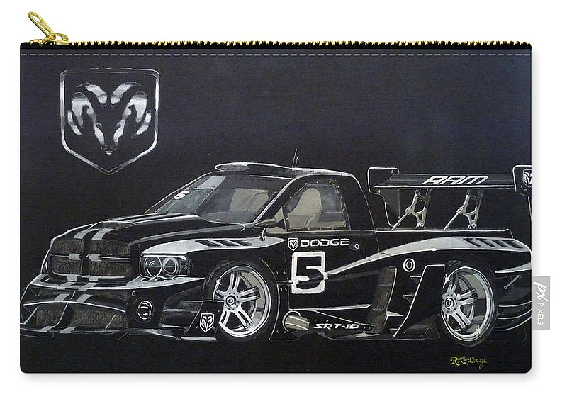 Truck Carry-all Pouch featuring the painting Racing Dodge Pickup by Richard Le Page