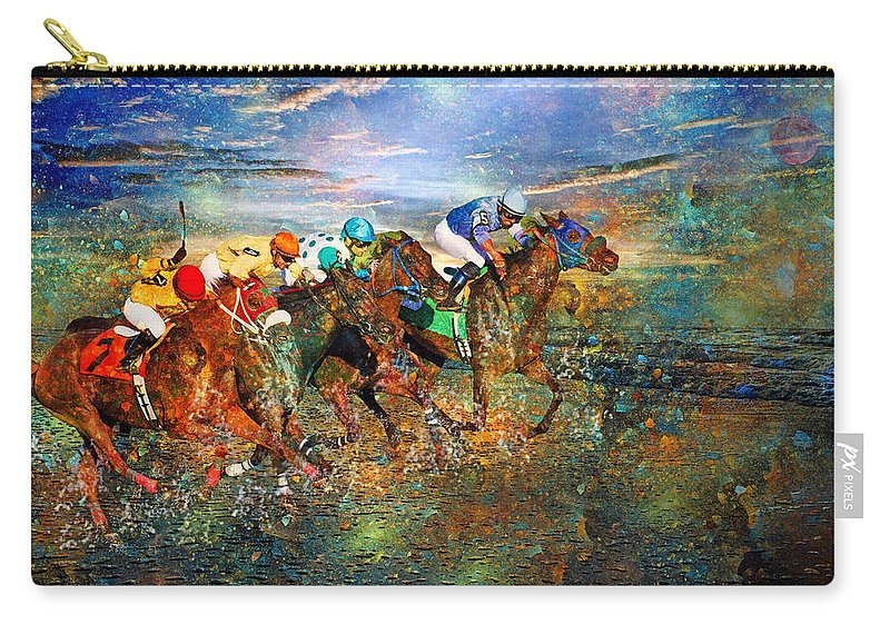 Fantasy Carry-all Pouch featuring the digital art Racing Energy II by Betsy Knapp