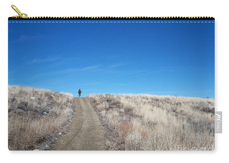 Racing Bike Carry-all Pouch featuring the photograph Racing Over The Horizon by Heather Kirk