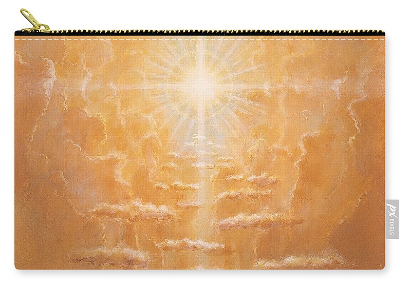 Sun; Sunlight; Rays; Cloud; Clouds; Sky; Bright; Sun Rays; Radiating;spirit; Spiritual; God; Cross; Light; Hope; God Carry-all Pouch featuring the painting Radiance by Simon Cook